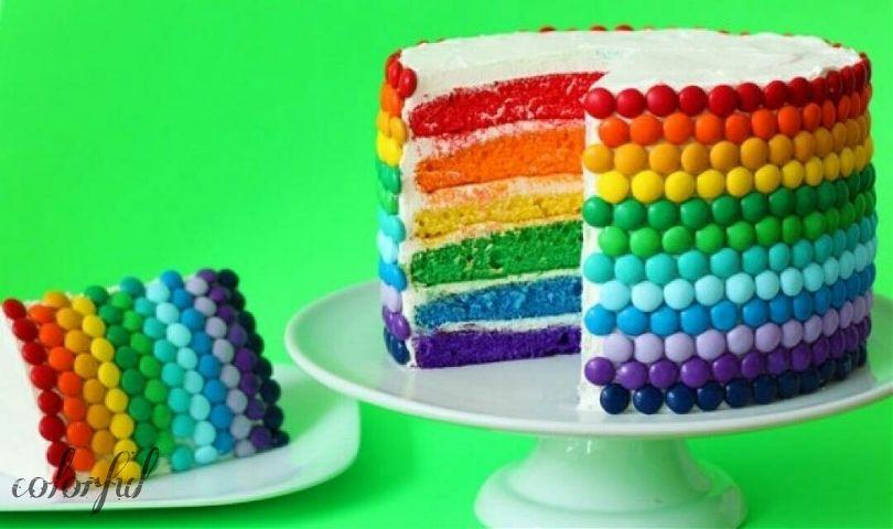 Цветные тортики с фото