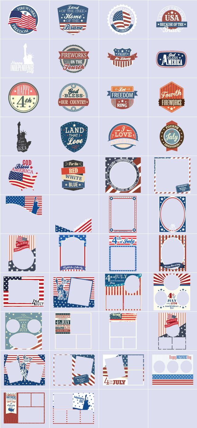 Independence Day clipart and frames