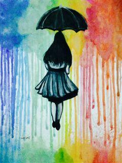 colorful painting watercolors rain