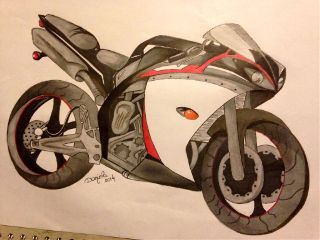 r1 motorbike yamaha promarker drawing