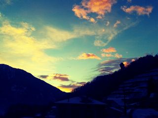sunset winter myvillage sky clouds